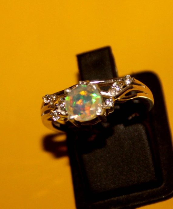 Ethiopian Fire Faceted Opal Silver Ring Size US (6.5) 0154