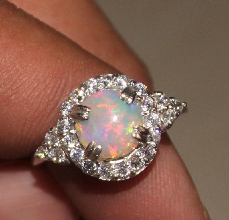 Ethiopian Fire Opal Silver Ring Size US (7) 0163
