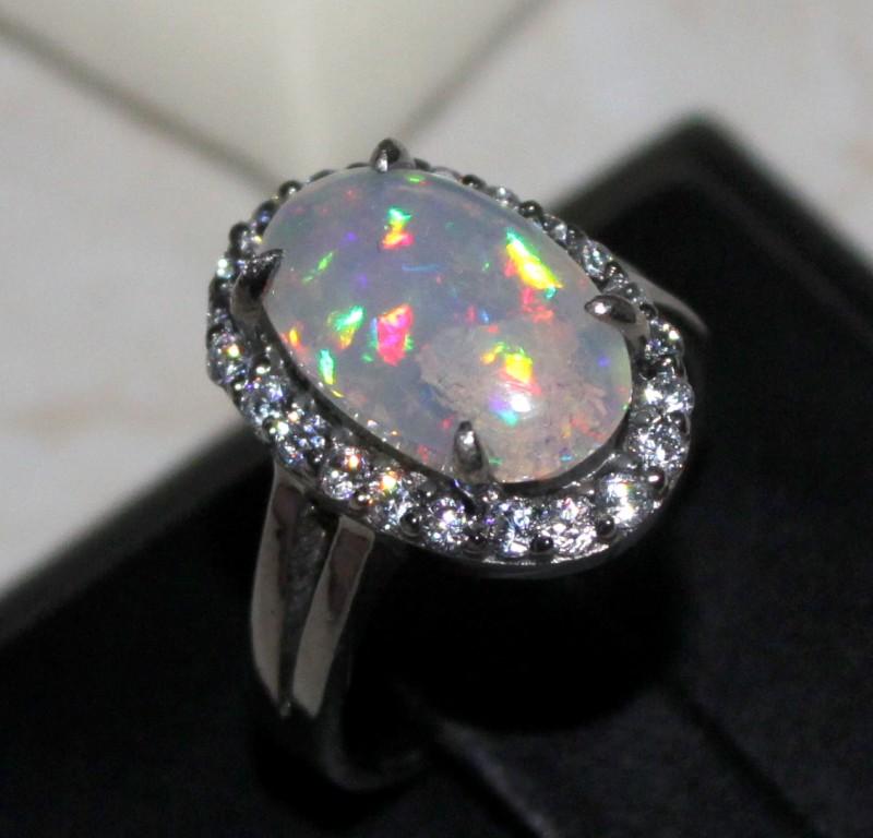 Ethiopian Fire Opal Silver Ring Size US (7) 0170