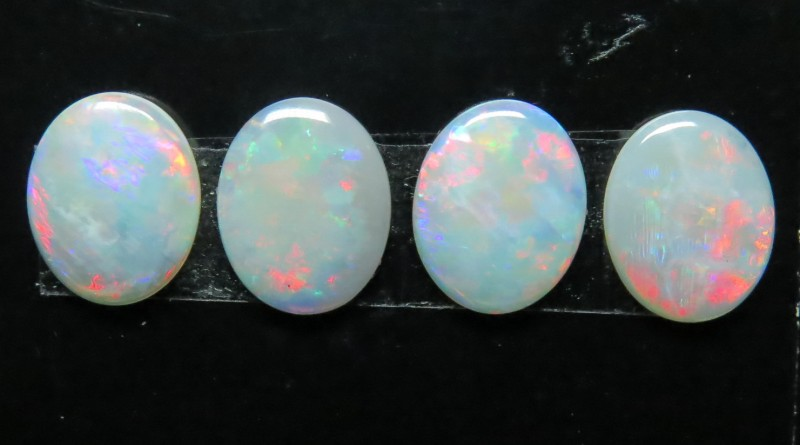 10x8mm 4 Stone White / Precious South Australian Opal