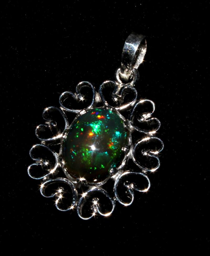 Ethiopian Fire Smoked Opal Silver Pendant 3.3 Cm