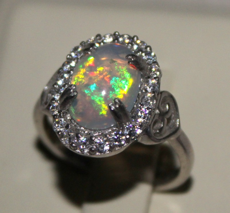 Ethiopian Fire Opal Silver Ring Size US (7) 0179