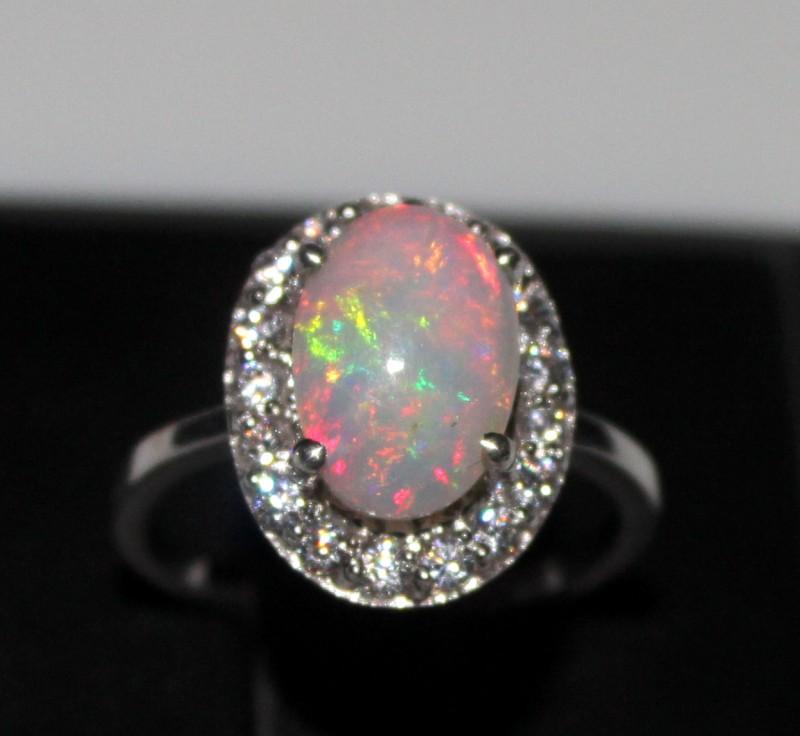 Ethiopian Fire Opal Silver Ring Size US (7) 0181