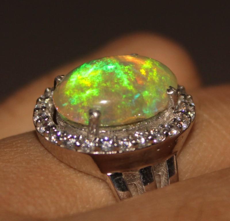 Ethiopian Fire Opal Silver Ring Size US (7) 0182