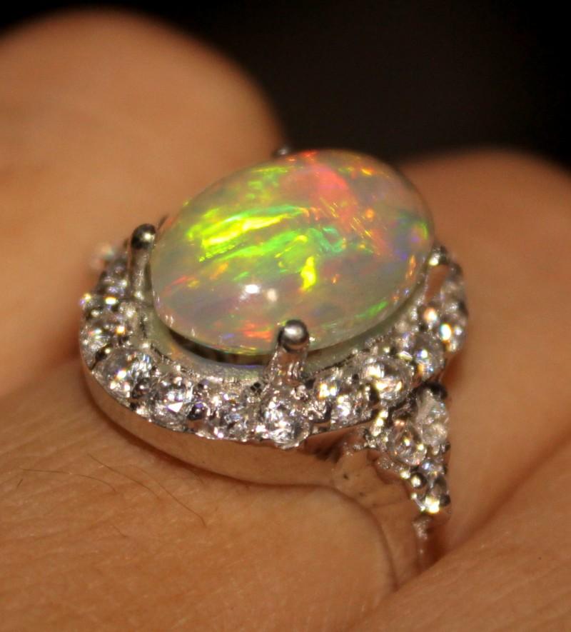 Ethiopian Fire Opal Silver Ring Size US (7) 0183
