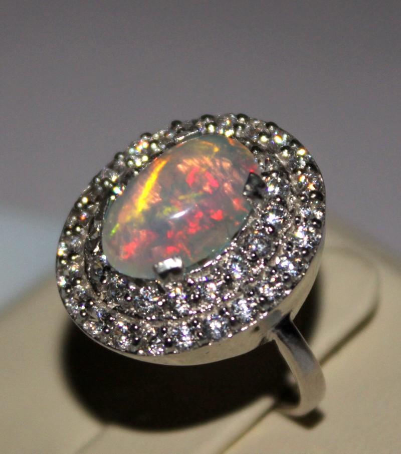 Ethiopian Fire Opal Silver Ring Size US (7) 0186