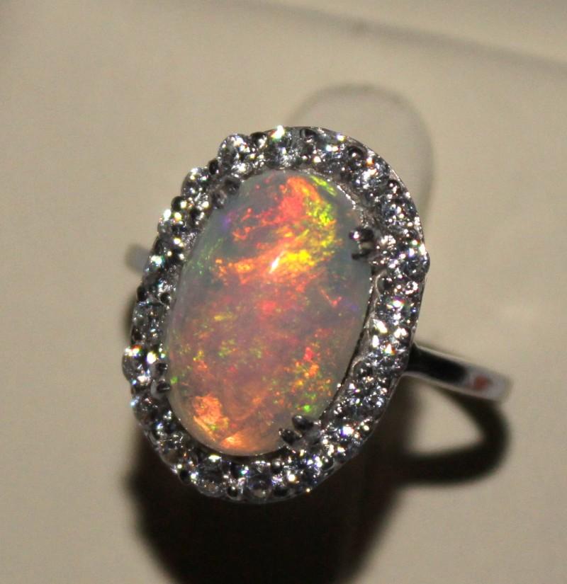 Ethiopian Fire Opal Silver Ring Size US (7) 0187