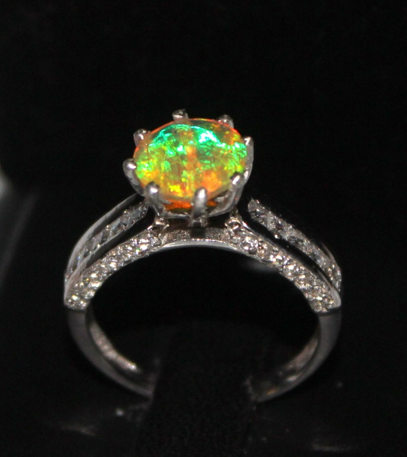 Ethiopian Fire Faceted Opal Silver Ring Size US (6.5) 0189
