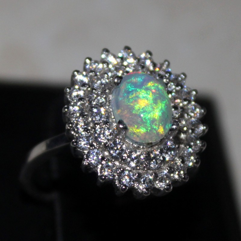 Ethiopian Fire Opal Silver Ring Size US (7) 0176