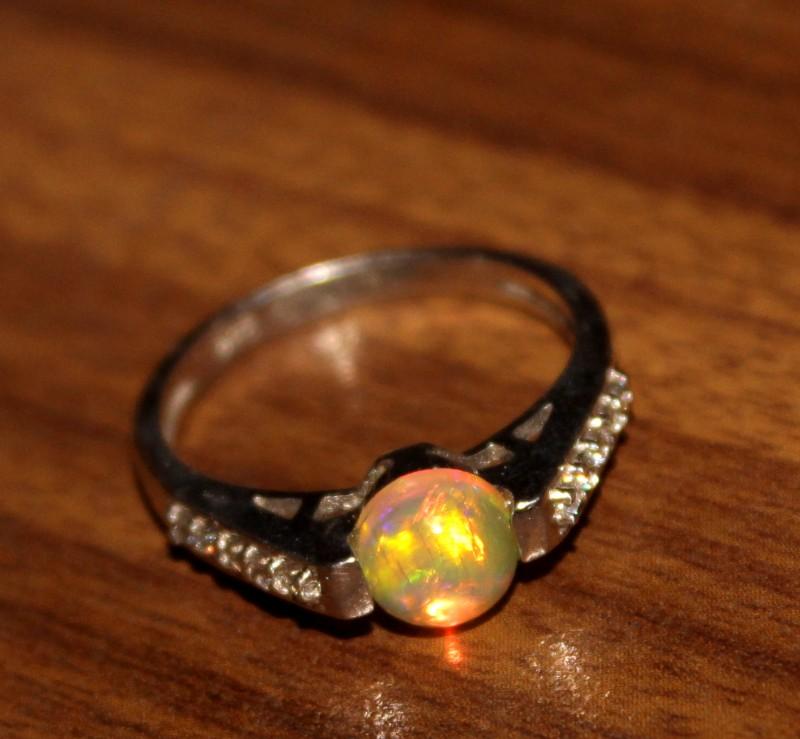 Ethiopian Fire Opal Silver Ring Size US (6) 0196