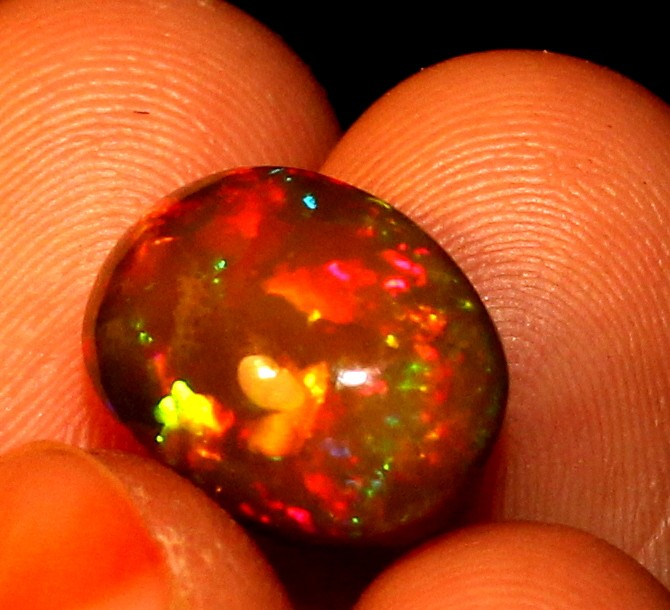 3.10 Crt Natural Fire Ethiopian Smoked Opal Cabochon 1043