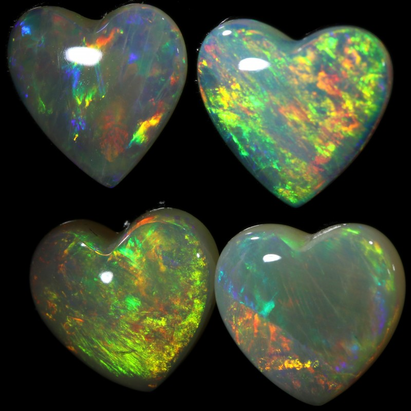 3.26 CTS HEART SHAPE CRYSTAL OPAL PARCEL  DEAL  CALIBRATED [C-SAFE226]