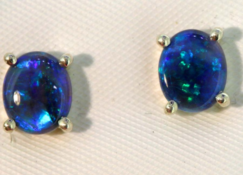 6.48-CTS BLACK OPAL SILVER EARRINGS OF-2456