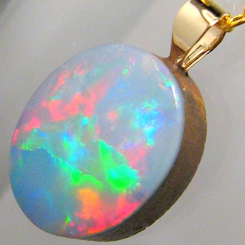 Genuine  Australian Opal Doublet Pendant 14kt Gold Gift Gem Jewelry 5.8 ct