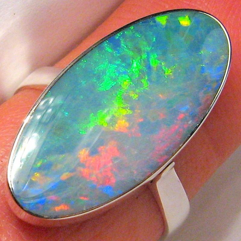 3.4g Size 8.5 BIG Australian Gem Silver Inlaid Doublet Opal Ring