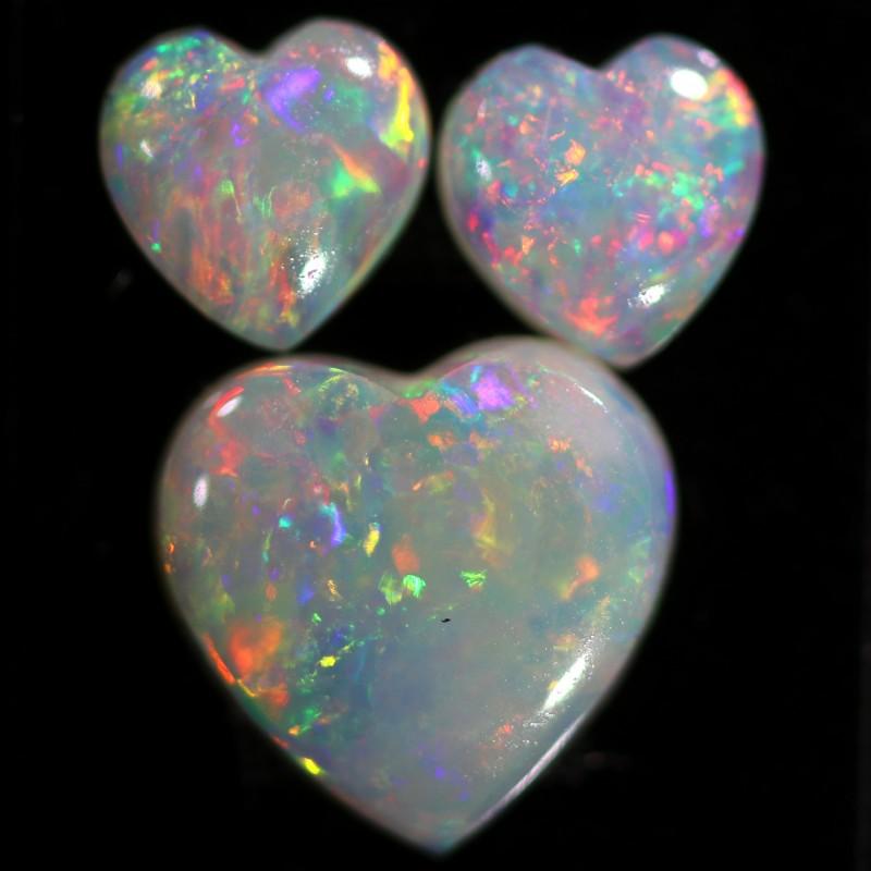 1.58 CTS WHITE OPAL HEART SHAPE SET 3[C-SAFE362]