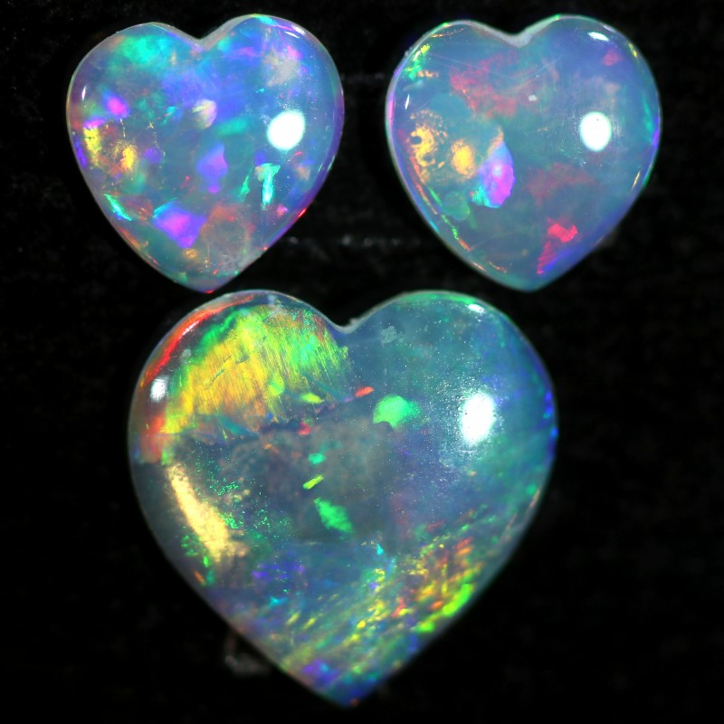 1.00 CTS HEART SHAPED CRYSTAL OPAL FROM COOBER PEDY SET 3 [C-SAFE369]