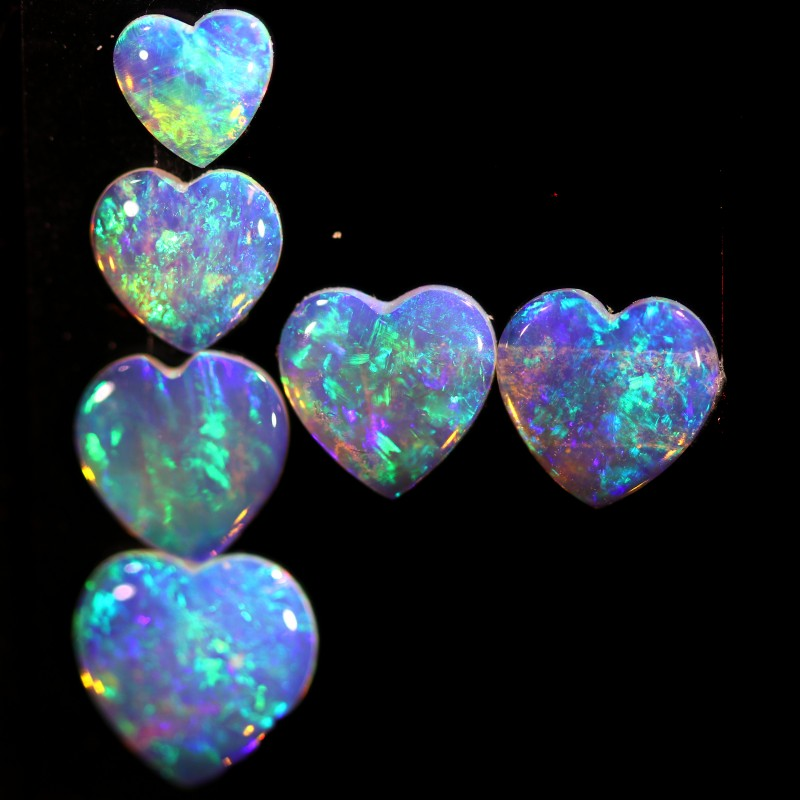 2.74 CTS HEART SHAPED CRYSTAL OPAL FROM COOBER PEDY SET 6 [C-SAFE373]