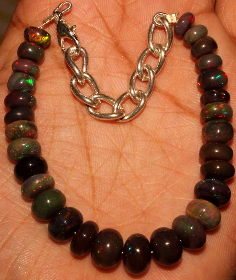 54 Crt Natural Ethiopian Fire Smoked Opal Beads Bracelet 0002