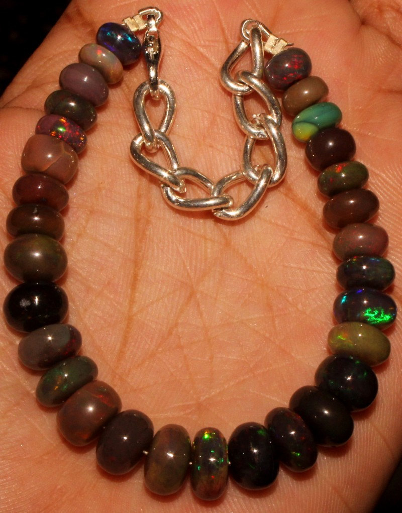 53 Crt Natural Ethiopian Fire Smoked Opal Beads Bracelet 0003