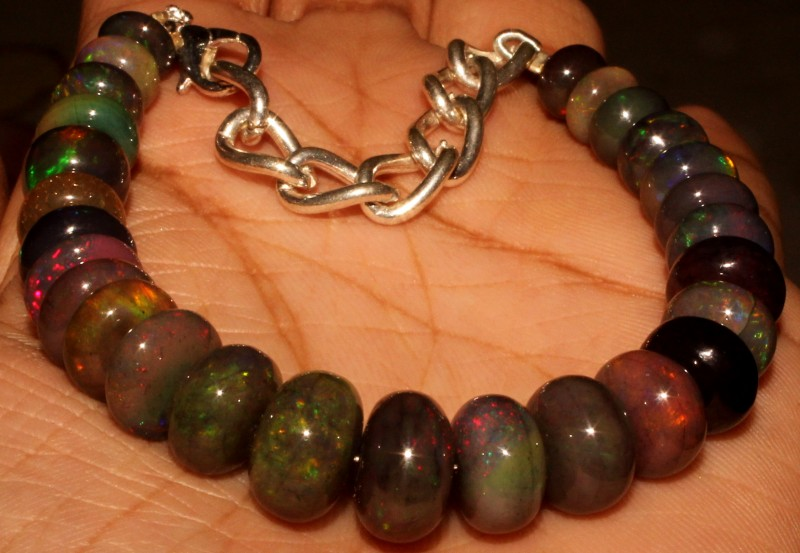 65 Crt Natural Ethiopian Fire Smoked Opal Beads Bracelet 0030