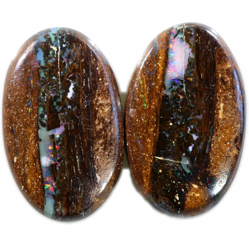 30.25 CTS BOULDER WOOD FOSSIL REPLACEMENT PAIR  [SEDA1816]