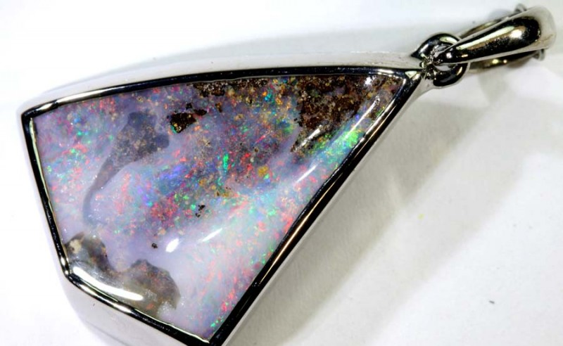 37.50-CTS BOULDER OPAL STERLING SILVER PENDANT OF-2484
