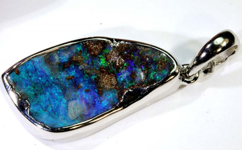 29.50-CTS BOULDER OPAL STERLING SILVER PENDANT OF-2485