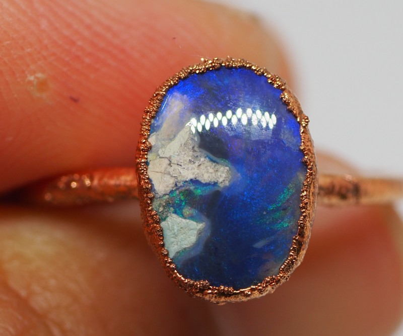 9.70CT OPAL RING WITH ELECTRIC FORM COPPER   NN111