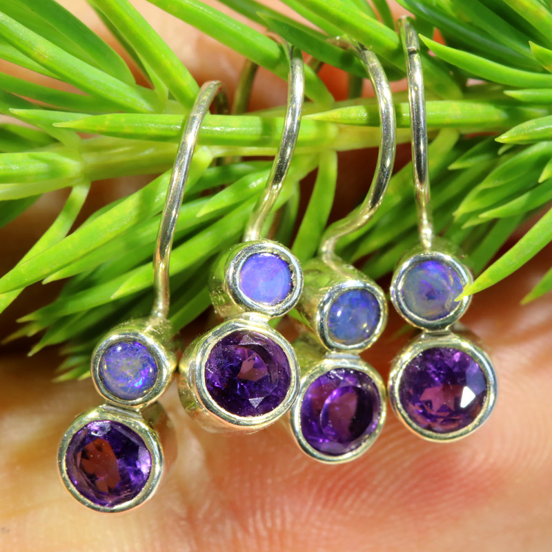 14.75CTS PARCEL DEAL OF EARRINGS CRYSTAL OPAL WITH AMETHYST [SOJ6537]