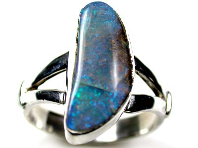 BEAUTIFUL SHIMMER GREEN BLUES BOULDER OPAL RING SIZE 8 SCA76