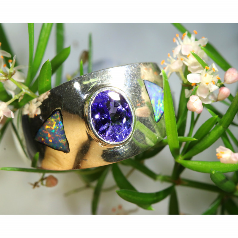 RING SIZE 7.8 TANZANITE WITH INLAY OPAL -SILVER[SOJ6589]