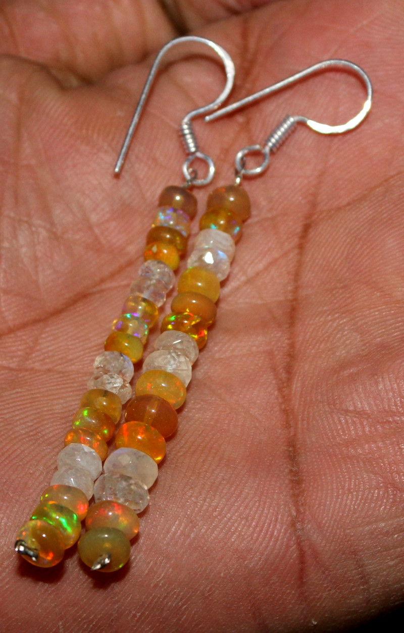 21 Crts Natural Ethiopian Welo Fire Opal & Rainbow Beads Earrings 20