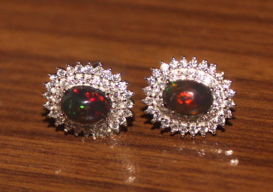 Natural Ethiopian Welo Fire Smoked Opal 925 Silver Stud Earrings 286