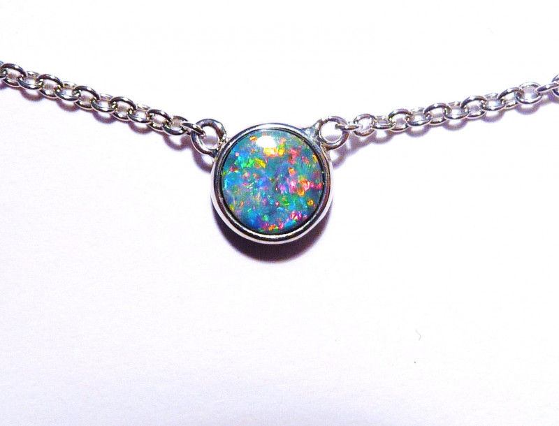 Genuine Australian Gem Opal Doublet and Sterling Silver Pendant