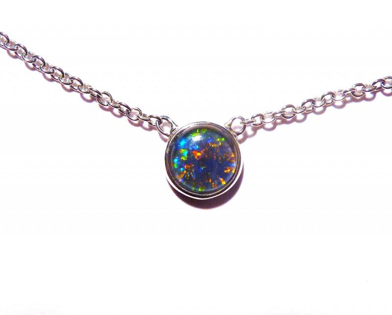 Australian Gem Grade Opal and Sterling Silver Pendant