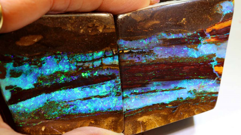 1414-CTS QUALITY BOULDER OPAL WOOD FOSSIL PAIR  INV-1072