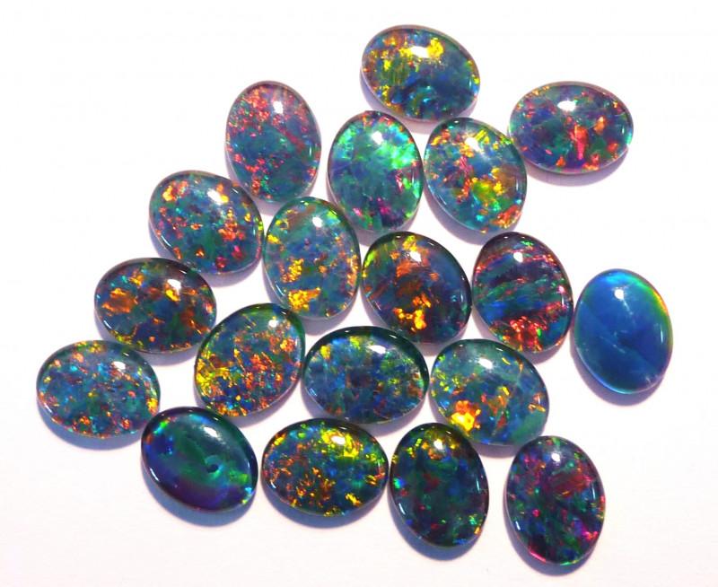 20 Australian Opal Triplets 9x7mm Multicolour (2681)
