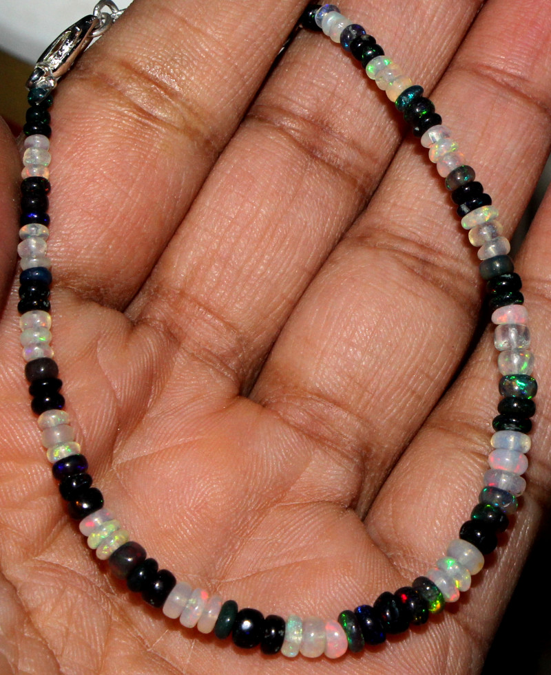 Natural Ethiopian Welo Fire Opal & Smoked Opal Beads Bracelet