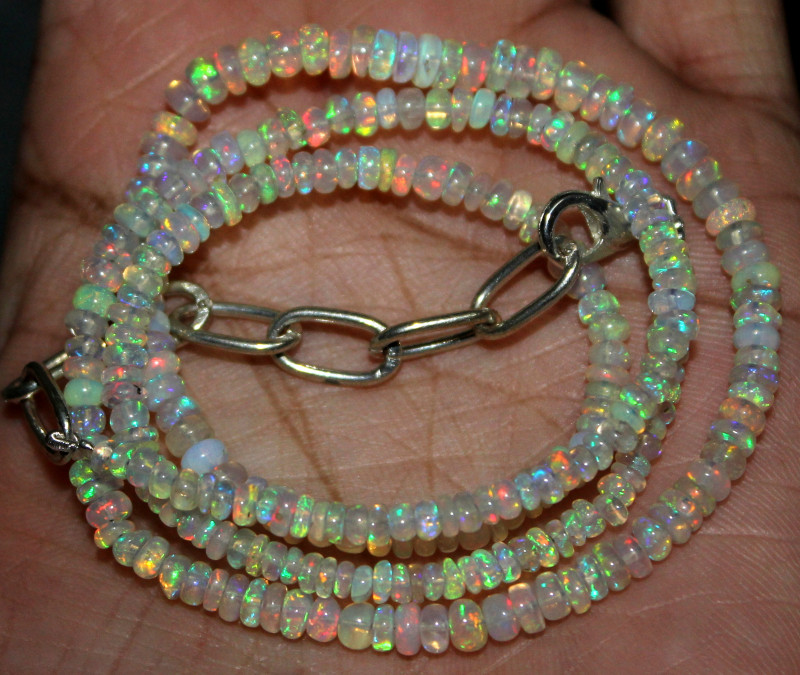 35 Crts Natural Ethiopian Welo Fire Opal Beads Necklace 40