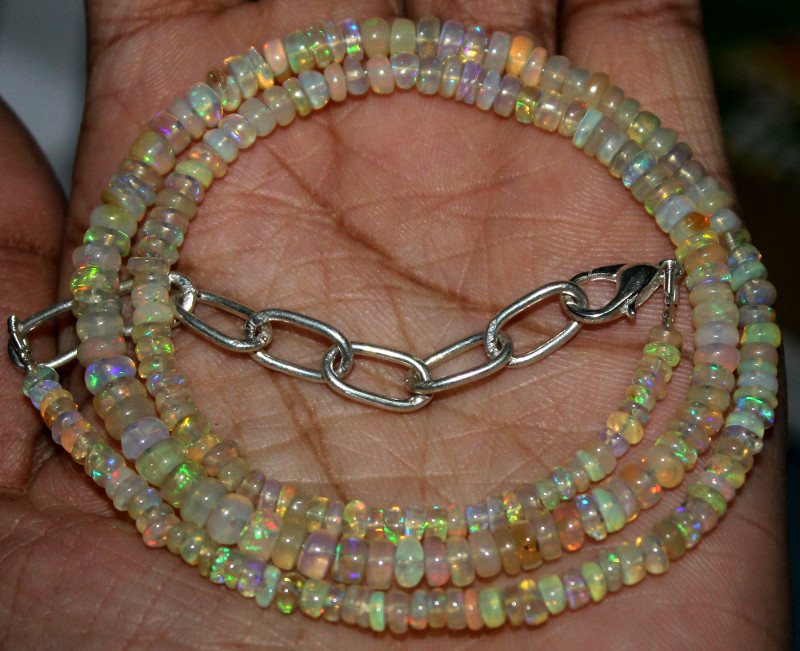 40 Crts Natural Ethiopian Welo Fire Opal Beads Necklace 41