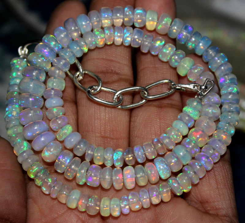 76 Crts Natural Ethiopian Welo Fire Opal Beads Necklace 43