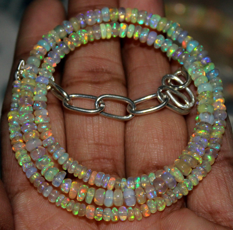 32 Crts Natural Ethiopian Welo Fire Opal Beads Necklace 46