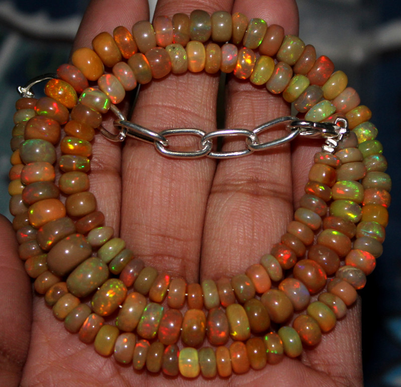 88 Crts Natural Ethiopian Welo Fire Opal Beads Necklace 48