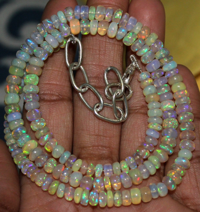 62 Crts Natural Ethiopian Welo Fire Opal Beads Necklace 70