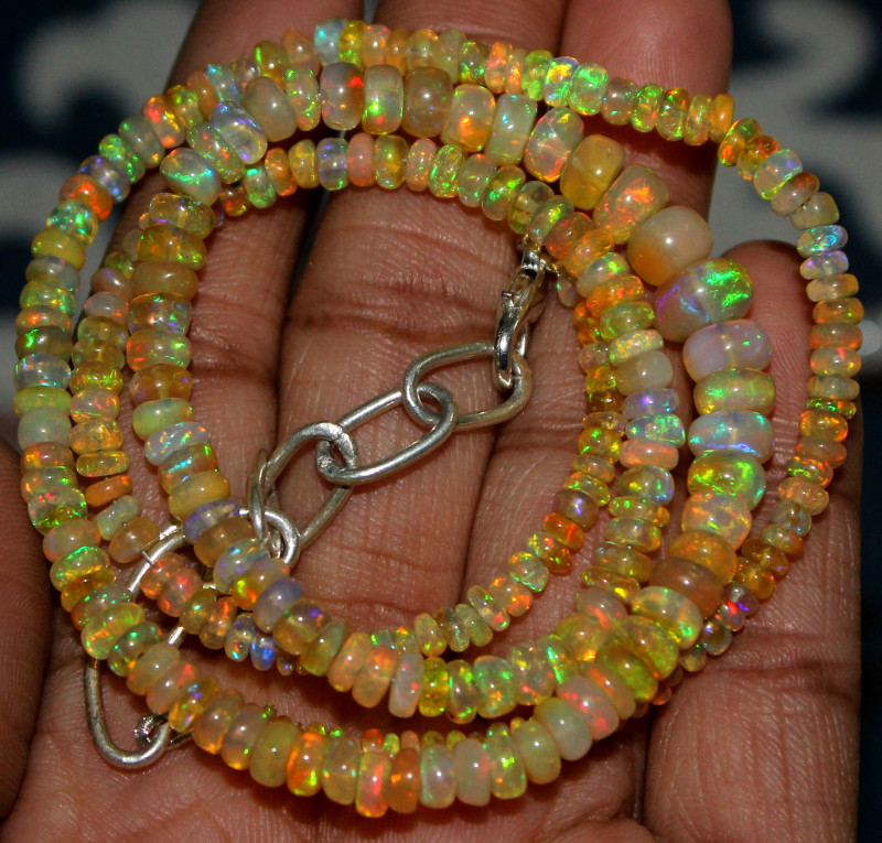 52 Crts Natural Ethiopian Welo Fire Opal Beads Necklace 75