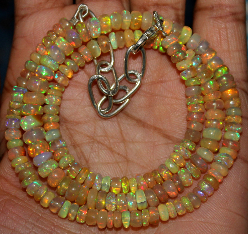 59 Crts Natural Ethiopian Welo Fire Opal Beads Necklace 117