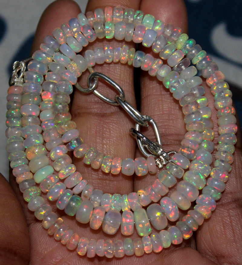 64 Crts Natural Ethiopian Welo Fire Opal Beads Necklace 125