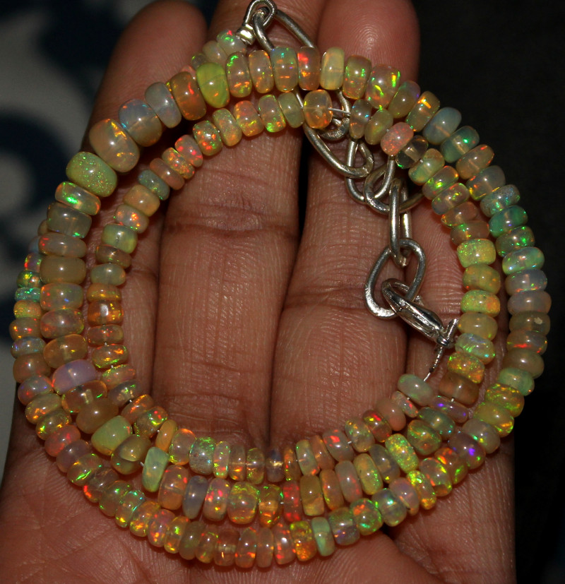 59 Crts Natural Ethiopian Welo Fire Opal Beads Necklace 130