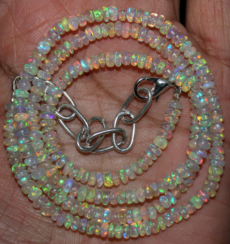 38 Crts Natural Ethiopian Welo Fire Opal Beads Necklace 168